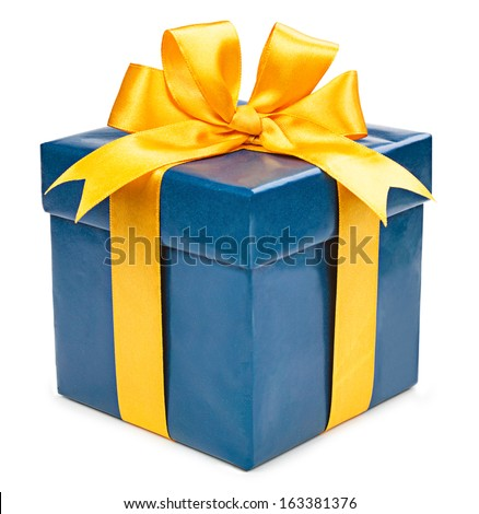 Turquoise box with a gift and a yellow bow isolated on white background - stock photo