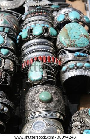 turquoise bracelets - stock photo
