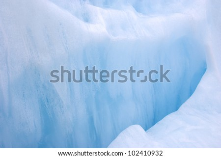 Turquoise colored ice at Franz Josef Glacier, New Zealand - stock photo