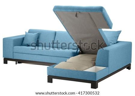 Turquoise corner couch bed with storage isolated on white include clipping path - stock photo