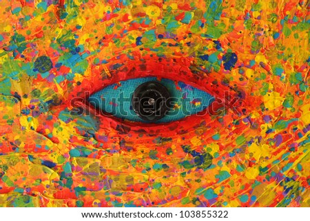 Turquoise Eye Texture of colorful painting - stock photo