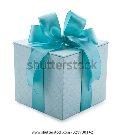 turquoise gift box with ribbon and bow isolated on a white background. - stock photo