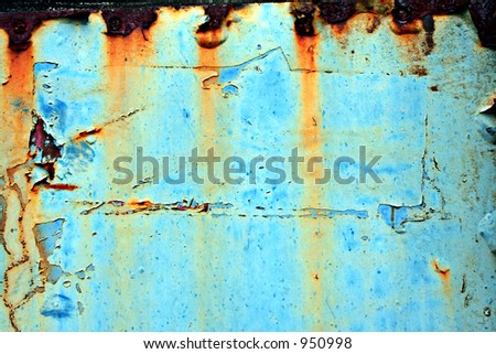 Turquoise Grunge Found on an Old Steam Train - stock photo