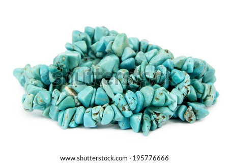 Turquoise Heap / Heap of Turquoise Strings, Isolated on White Background - stock photo