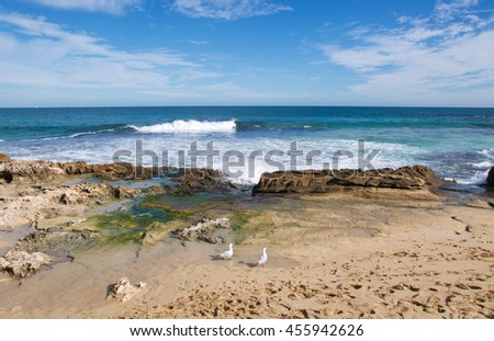 Turquoise Indian Ocean seascape with waves rolling in at Penguin Island in Rockingham, Western Australia/Sand and Sea/Penguin Island, Rockingham, Western Australia
