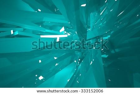 Turquoise interior. 3D illustration. 3D rendering. - stock photo