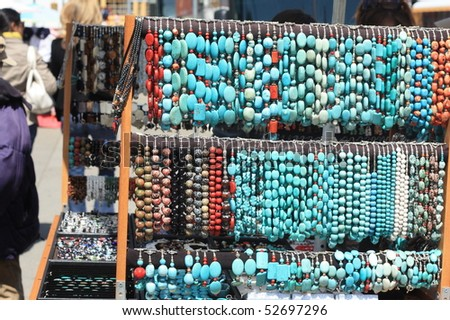 Turquoise Jewelery in Union Square - stock photo