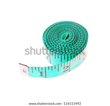 Turquoise measuring tape rolled up isolated on white - stock photo