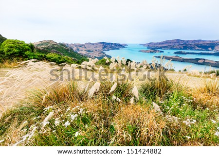 Turquoise mountain lake seen from a grassy hill in New Zealand - stock photo