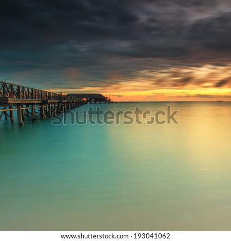 Turquoise Oceanic of Pulau Mabul, Borneo, Long Exposure during Sunrise View, Malaysia - stock photo