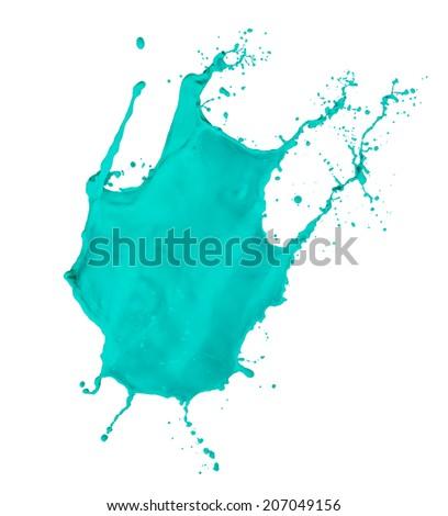 turquoise paint splash isolated on white background - stock photo