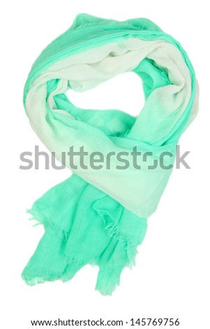Turquoise scarf isolated on white
