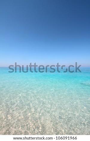 Turquoise sea and sky horizon - stock photo