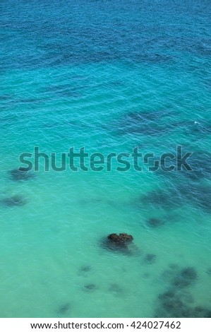 Turquoise sea waters and rocks. Lagoa, Algarve, Portugal - stock photo