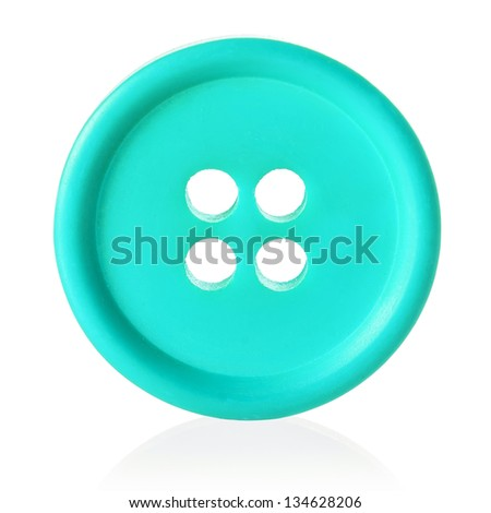 turquoise sewing button isolated on white - stock photo