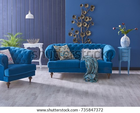 Turquoise Sofa Classic Living Room Decoration Grey And Blue Wall Horizontal  Banner With Empty Wooden Floor Part 88