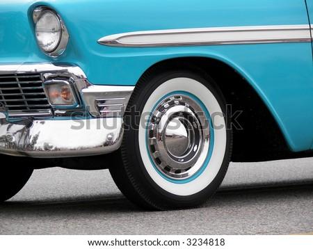 Turquoise vintage car - stock photo