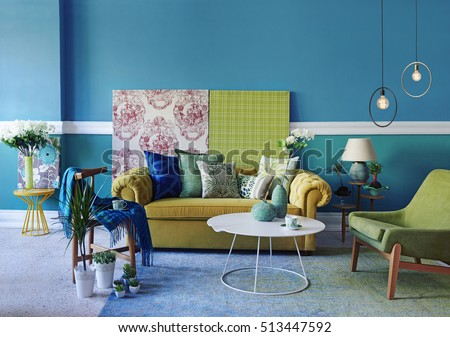 Turquoise Wall Living Room, Modern Lamp Part 76
