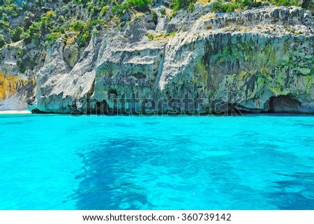 turquoise water in Orosei Gulf, Sardinia - stock photo