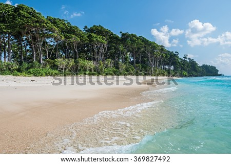 turquoise water of sea at laxmanpur beach, Neil Island, Andaman and Nicobar, India  - stock photo