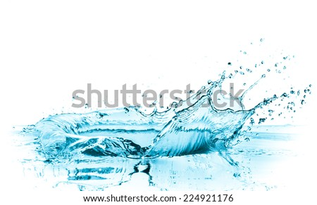 turquoise water splash, isolated on white - stock photo