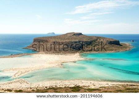 Turquoise waters of famous Balos beach, Crete, Greece - stock photo