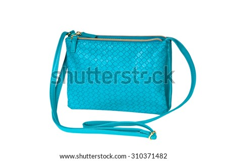 Turquoise Women's handbag on a white background