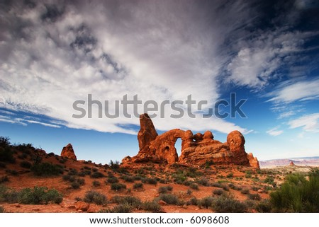 Turret Arch, Arches National Park - stock photo
