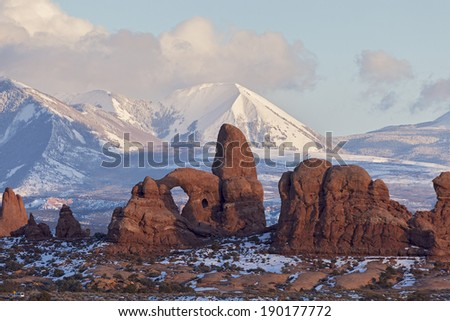 Turret Arch with Snow Mountains at Sunset, Arches National Park, Utah