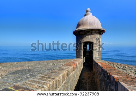 Turret at Castillo San Cristobal in San Juan, Puerto Rico. - stock photo