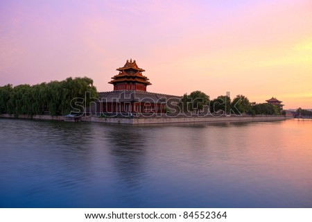 turret of the palace museum at sunset in beijing,China - stock photo