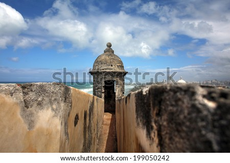 Turret Tower Bay View from El Morro Fort San Juan Puerto Rico on sunny day - stock photo