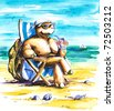 Turtle enjoying holidays on the beach.Picture I have created with watercolors. - stock photo