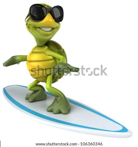Turtle surfing - stock photo