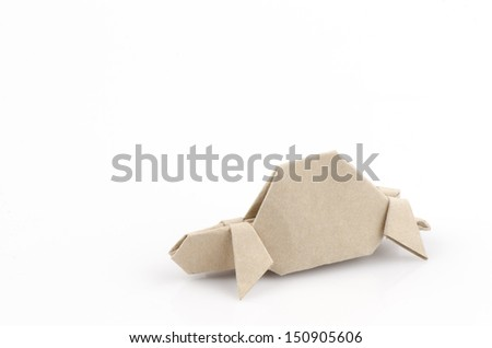 Turtle with old paper folding