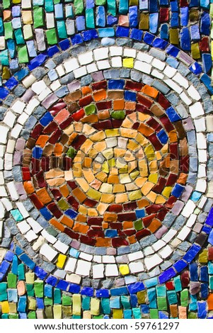 Turtlel colorful mosaic texture on the wall - stock photo