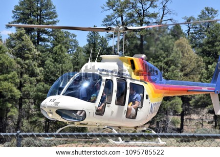 Tusayan Arizona 5/18/18 Papillon Helicopter taking off from the airport to take sightseers to the Grand Canyon