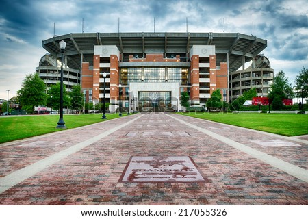TUSCALOOSA, AL - Sept. 12, 2014: Bryant-Denny Stadium at the University of Alabama in Tuscaloosa on Sept. 12, 2014. The Crimson Tide football team has won 15 national championships.  - stock photo