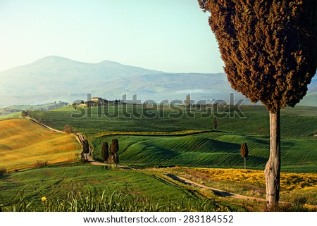Tuscan countryside near Pienza - stock photo