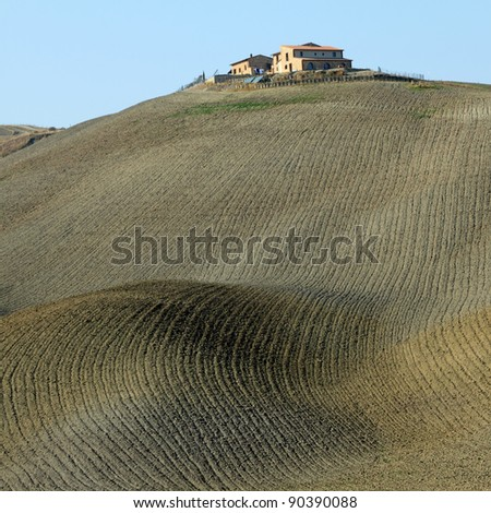 tuscan farmland in Crete Senesi region, Siena,Italy, Europe - stock photo