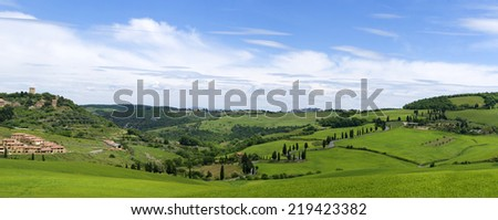Tuscan landscape near the town of Monticello - stock photo