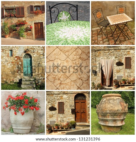 tuscan lifestyle collage, Italy, Europe - stock photo