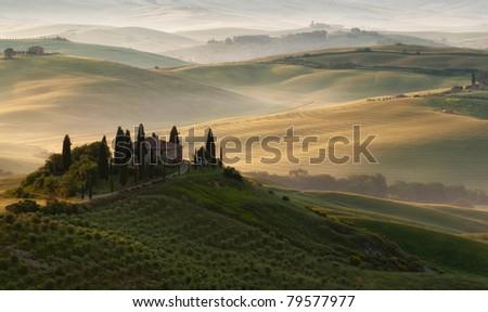 tuscan morning - stock photo