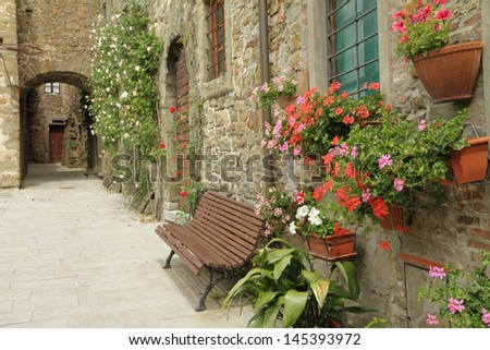 tuscan street in borgo Volpaia, Tuscany,Italy, Europe - stock photo