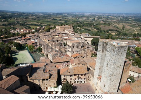 Tuscan village San Gimignano view from the tower - stock photo