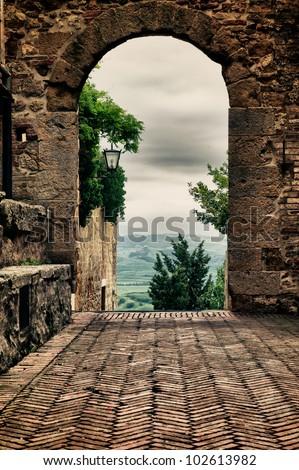 tuscany door - stock photo