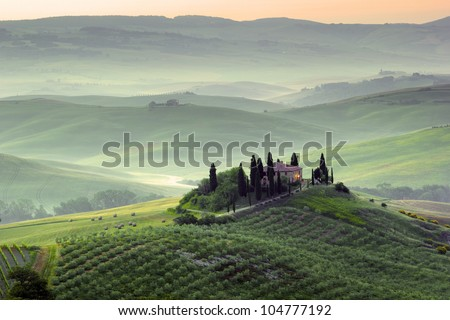 Tuscany. Early morning in Val d'Orcia, Italy