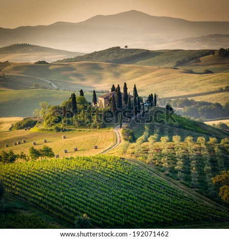 Tuscany, farmhouse in the Val d'Orcia countryside landscape, surrounded by cypress trees and golden hills, Italy - stock photo