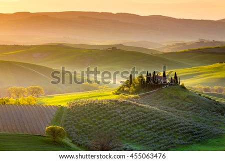TUSCANY, ITALY - APRIL 16, 2016: Peaceful morning in spring near small town San Quirico d Orcia, Tuscany, Italy