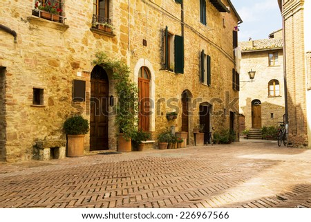 Tuscany, Italy - old vintage town street - stock photo